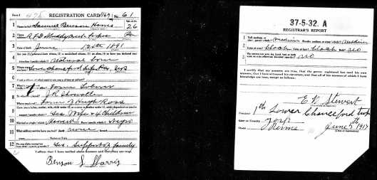 WWI - Draft Registration for Samuel Benson Harris  (Possible Connection)