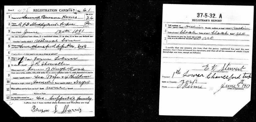 WWI - Draft Registration for Samuel Benson Harris  (Possible Connection)